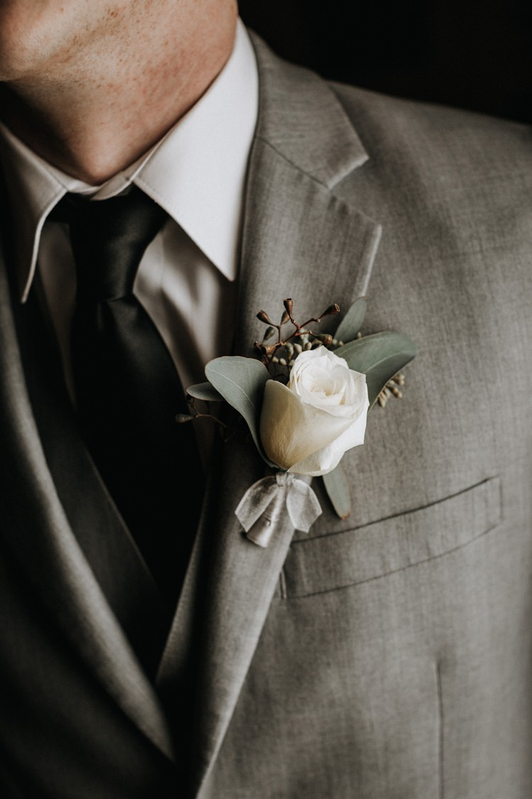 City Urban Georgia Engine Room Exposed Bricks Groom White Rose Buttonhole Grey Suit | Bohemian Industrial Oxblood Wedding https://www.lunaleephotos.com/