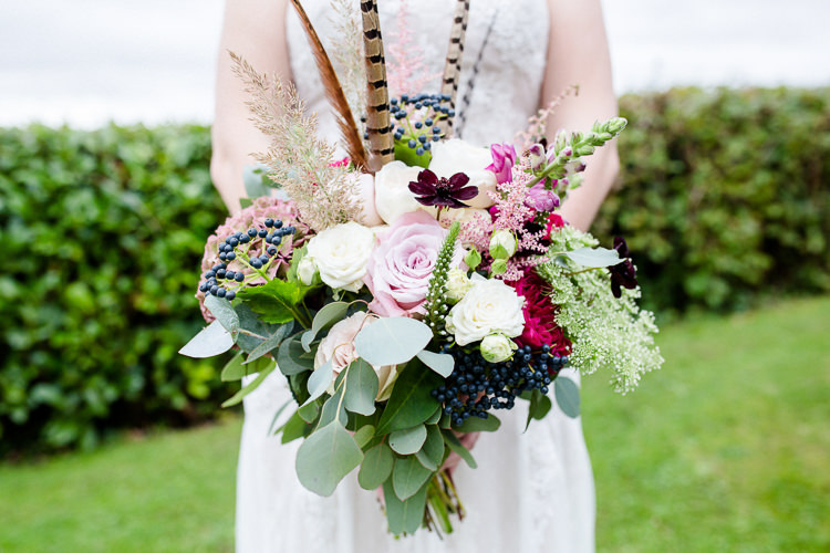 Bride Bridal Bouquets Pheasant Feather Multicoloured Pink Rose Autumn Countryside Family Farm Wedding Dorset http://www.lydiastampsphotography.com/