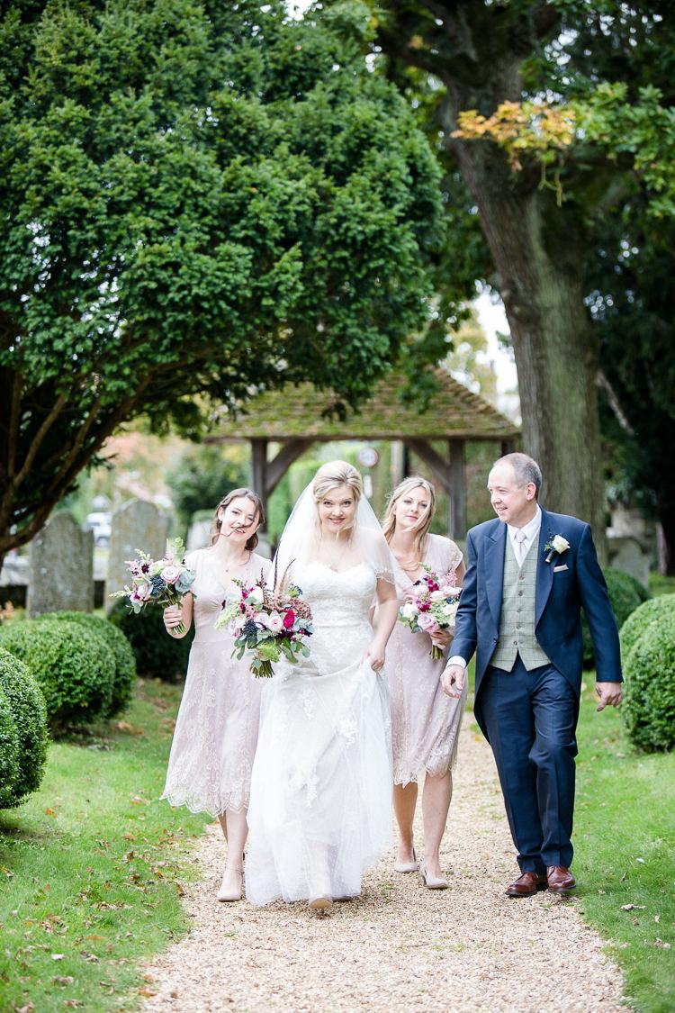 Bride Bridal Lace Strapless Dress Tulle Veil Bouquet Multicoloured Pheasant Feather Pink Blush Bridesmaids V Neck Autumn Countryside Family Farm Wedding Dorset http://www.lydiastampsphotography.com/