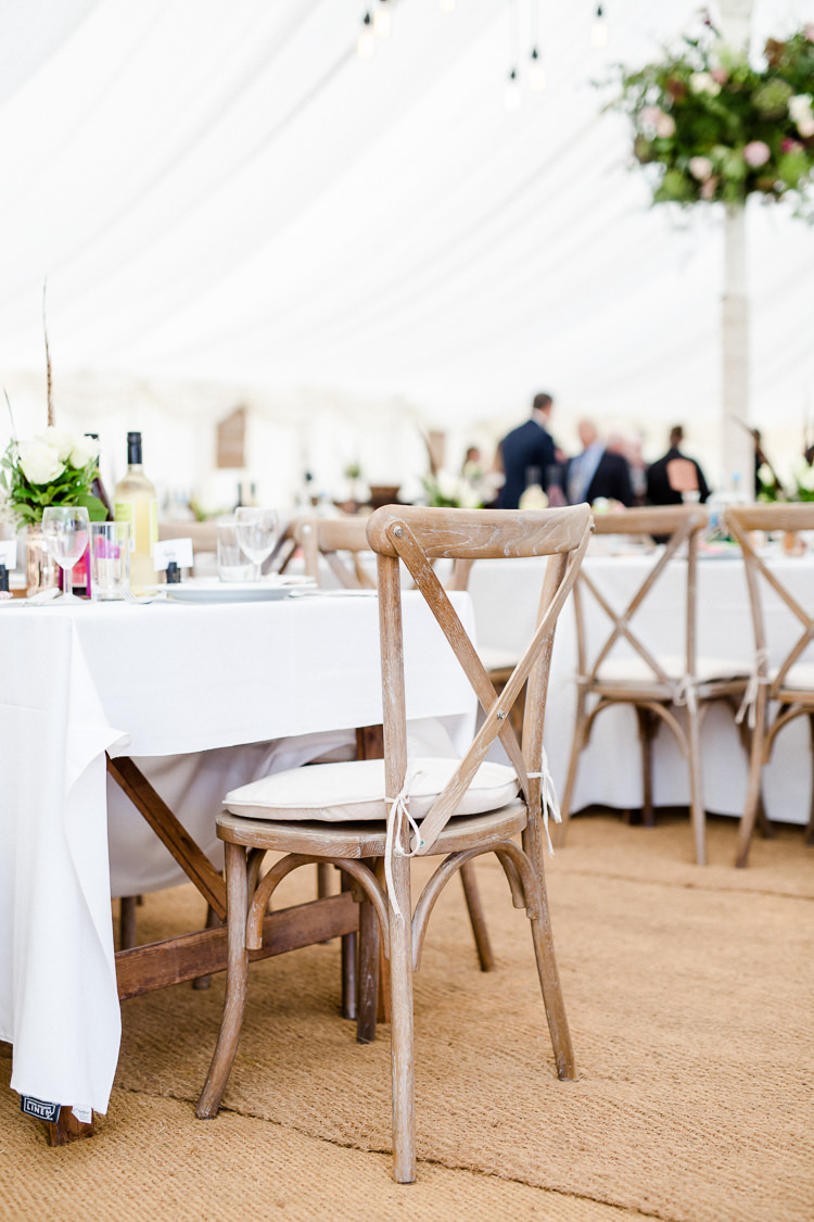 Rustic Wooden Chair Cross Back Seat Pad Marquee Autumn Countryside Family Farm Wedding Dorset http://www.lydiastampsphotography.com/