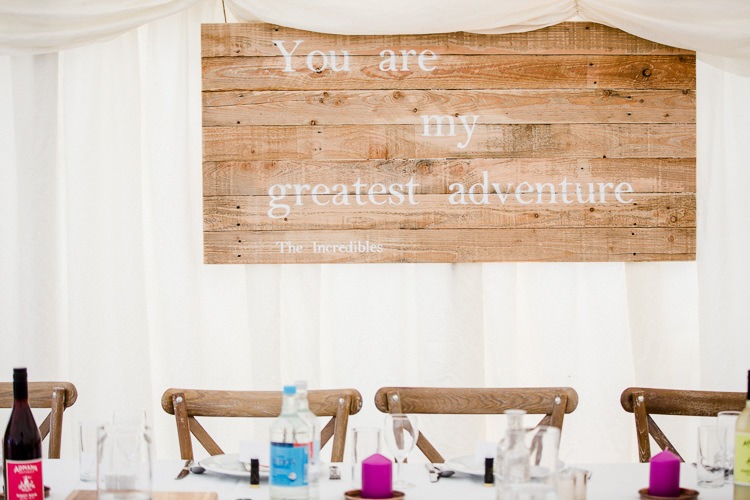 Pallet Sign You Are My Greatest Adventure Top Table Wooden Chairs Rustic Autumn Countryside Family Farm Wedding Dorset http://www.lydiastampsphotography.com/