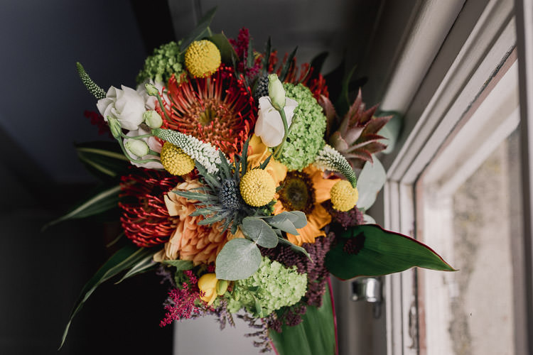 Flowers Bouquet Bride Bridal Yellow Red Sunflower Billy Ball Colourful Indie London City Wedding Clissold House West Reservoir Centre https://www.murrayclarke.co.uk/
