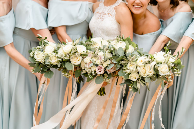 Bride Bridal Bouquet Bridesmaids Cream Rose Eucalyptus Bouquets Ribbons Peach Nostalgic Honest British Loseley Park Wedding Surrey https://www.johnbarwoodphotography.co.uk/