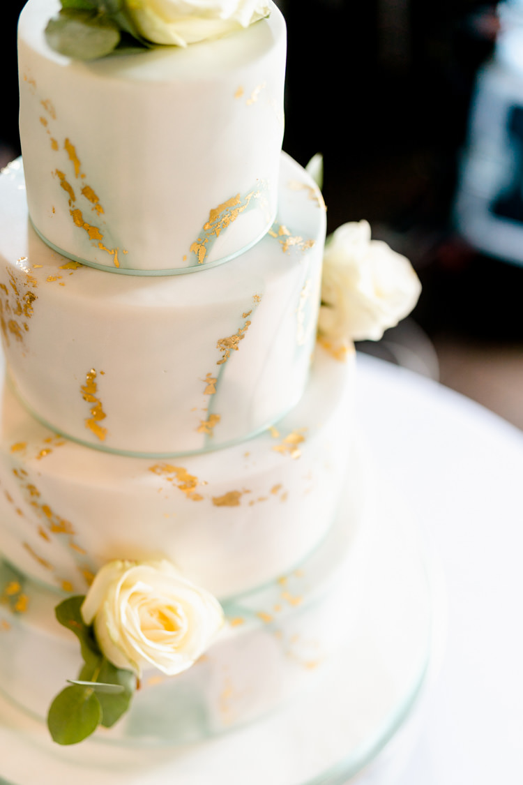 Cake Marble Gold Leaf Four Tier Cream Rose Nostalgic Honest British Loseley Park Wedding Surrey https://www.johnbarwoodphotography.co.uk/