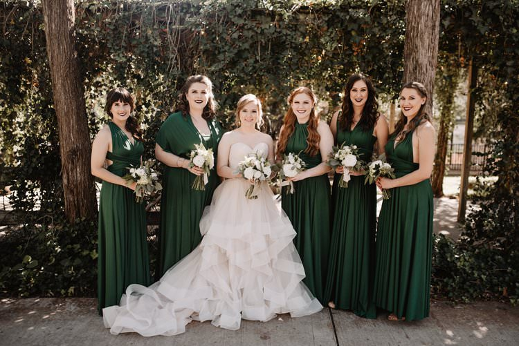 Outdoor Destination Classic Pink Bride Gown Emerald Green Bridesmaids Neutral Simple White Bouquet | Dreamy Blush Emerald Fairytale Wedding Oklahoma http://www.kelcyleighphotography.com/