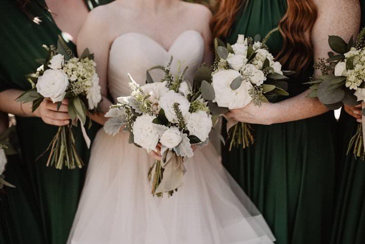 Outdoor Destination Classic Romantic Pink Princess Gown Bride Emerald Green Bridesmaids White Bouquet | Dreamy Blush Emerald Fairytale Wedding Oklahoma http://www.kelcyleighphotography.com/