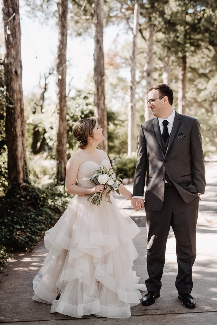 Outdoor Destination Classic Pink Bride Gown Neutral Simple White Greenery Bouquet First Look | Dreamy Blush Emerald Fairytale Wedding Oklahoma http://www.kelcyleighphotography.com/