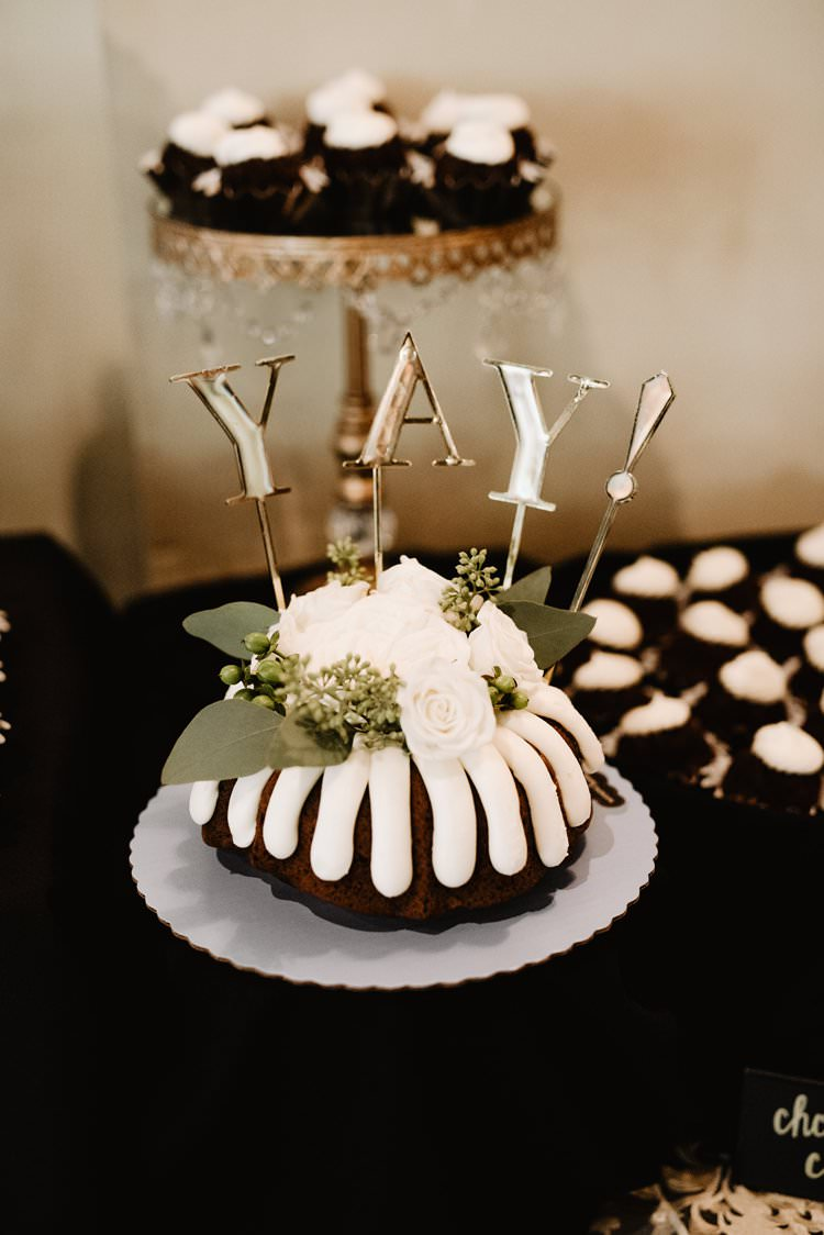 Yay Gold Cake Topper White Icing Greenery Fresh Flowers Cupcakes Dessert Table | Dreamy Blush Emerald Fairytale Wedding Oklahoma http://www.kelcyleighphotography.com/