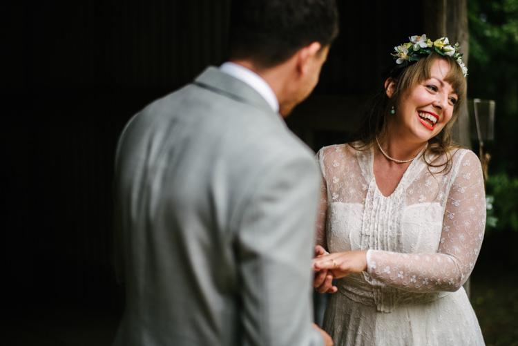 Bride Bridal Lace long Sleeved Dress Gown V Neck Flower Crown Yellow Dip Dye Underskirt Grey Groom Suit Woodland Organic Farm Shop Wedding Gloucestershire https://www.edgodden.co.uk/