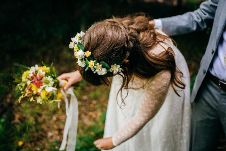 Bride Bridal Lace Dress Flower Crown Meadow Wild Flower Bouquet Hand Tied Plait Woodland Organic Farm Shop Wedding Gloucestershire https://www.edgodden.co.uk/
