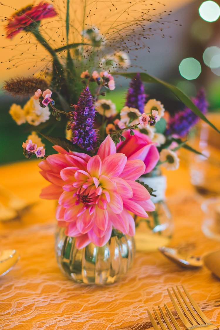 Table Centre Flowers Floral Vase Dahlia Colourful Outdoor Tipi Farm Wedding https://kirstymackenziephotography.co.uk/