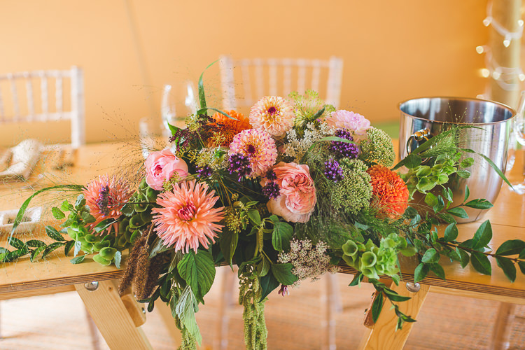 Top Table Centrepiece Flowers Floral Dahlia Greenery Colourful Outdoor Tipi Farm Wedding https://kirstymackenziephotography.co.uk/