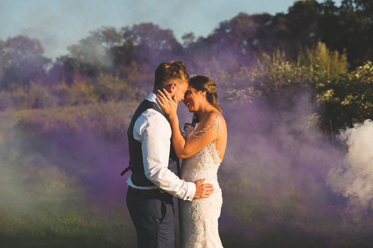 Bride Bridal Sottero & Midgeley Dress Gown Lace Shoulder Detail Richard James Suit Three Piece Waistcoat Blue Groom Smoke Bomb Colourful Outdoor Tipi Farm Wedding https://kirstymackenziephotography.co.uk/