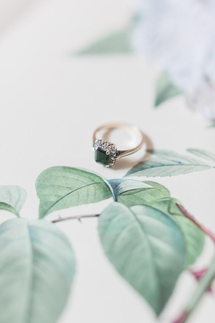 Emerald Vintage Engagement Ring Hazy Summer Lavender Grey Wedding Cripps Barn Cotswolds http://jobradbury.co.uk/