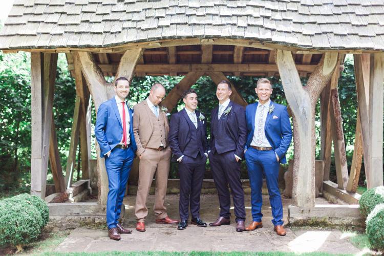 Groom Groomsmen Ted Baker Blue Suits Hazy Summer Lavender Grey Wedding Cripps Barn Cotswolds http://jobradbury.co.uk/