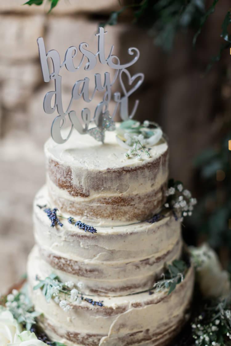Naked Cake Buttercream Rustic Topper Hazy Summer Lavender Grey Wedding Cripps Barn Cotswolds http://jobradbury.co.uk/