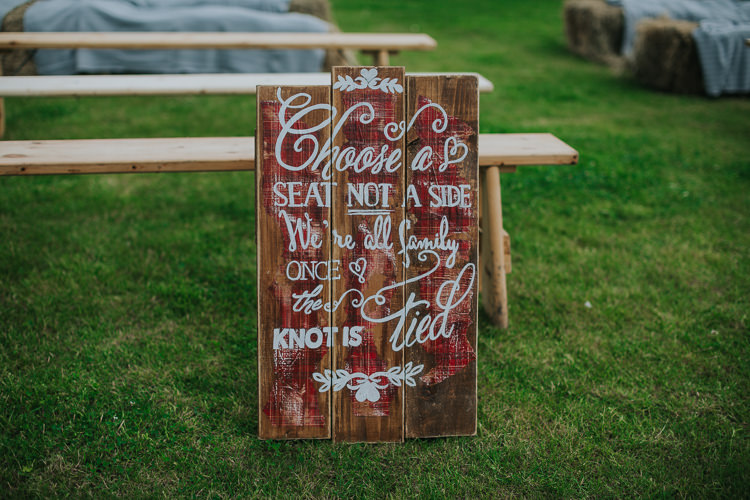 Wooden Sign Ceremony Angrove Park Tipi Wedding Yorkshire Bloom Weddings