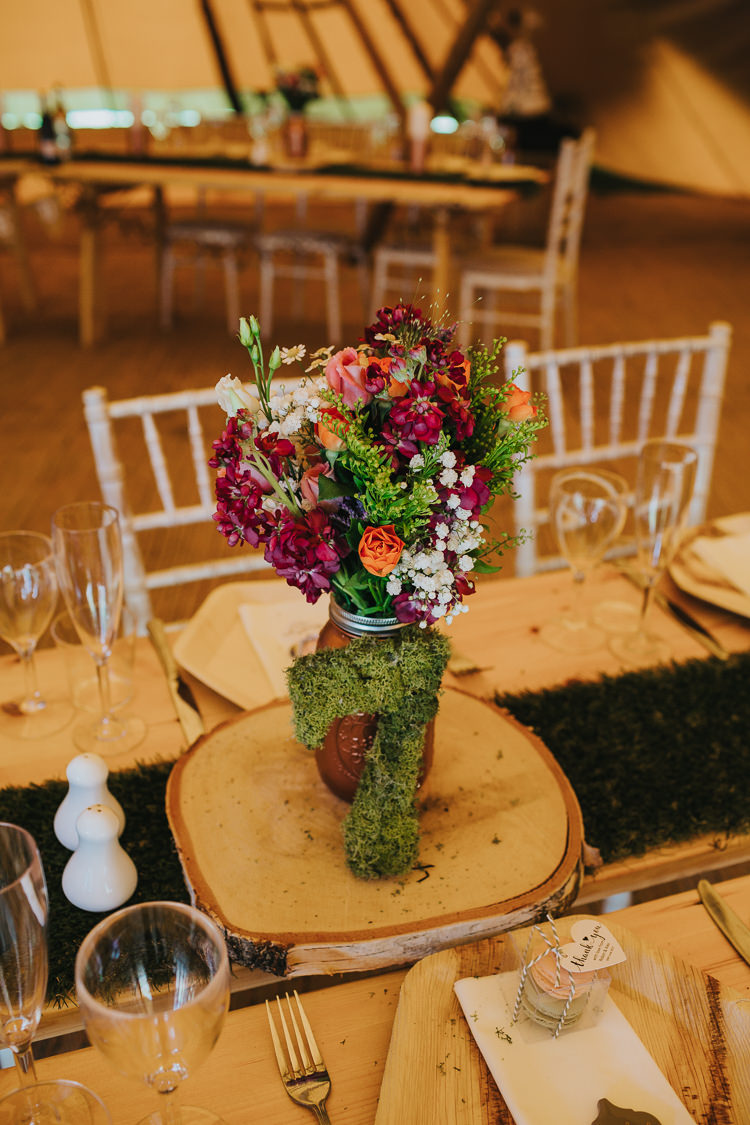 Flowers Centrepiece Copper Jar Log Slice Moss Number Table Angrove Park Tipi Wedding Yorkshire Bloom Weddings