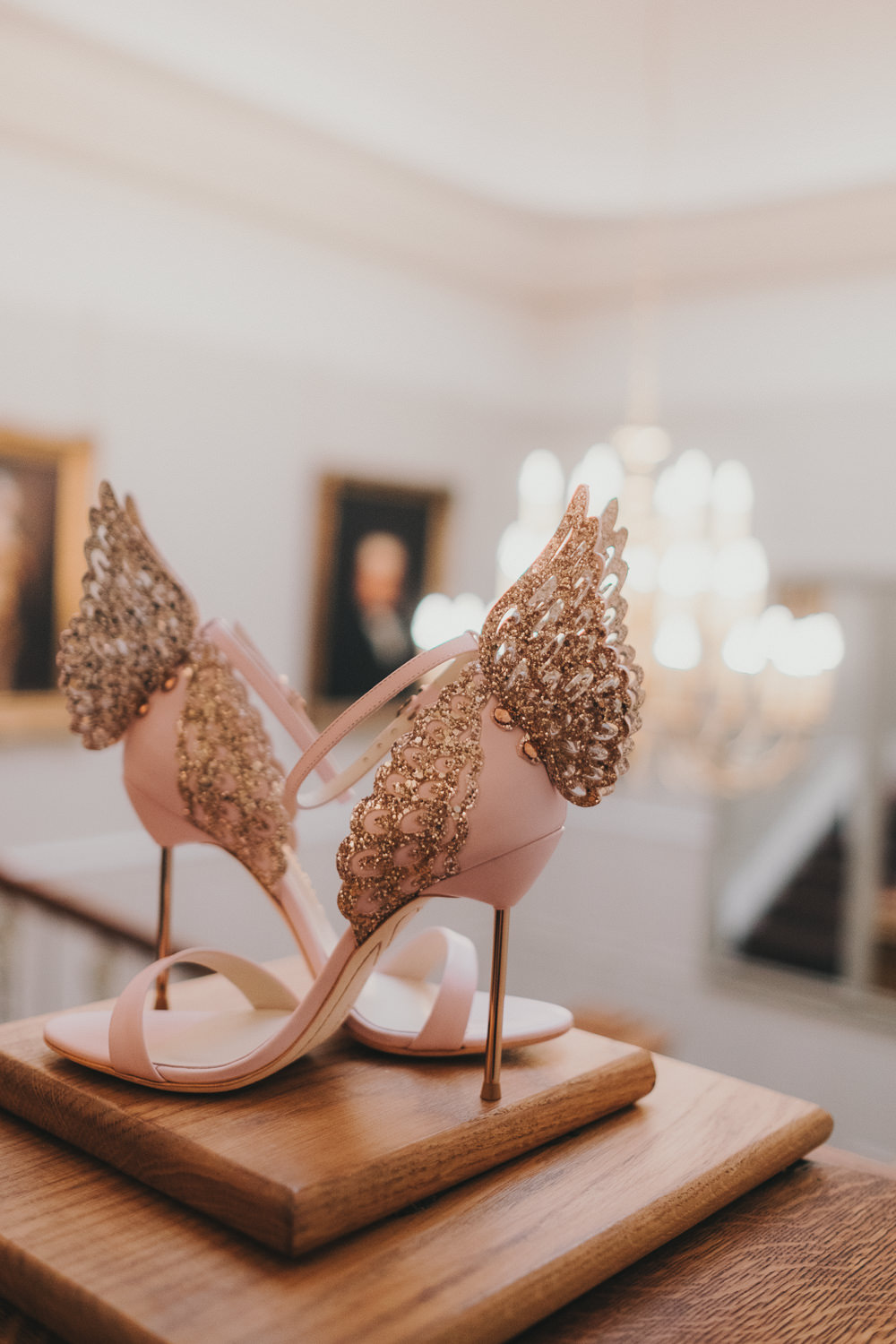 Bride Bridal Shoes Sophia Webster Butterfly Pink Rose Gold Blush Sparkle | Ashfield House Wedding Kate McCarthy Photography
