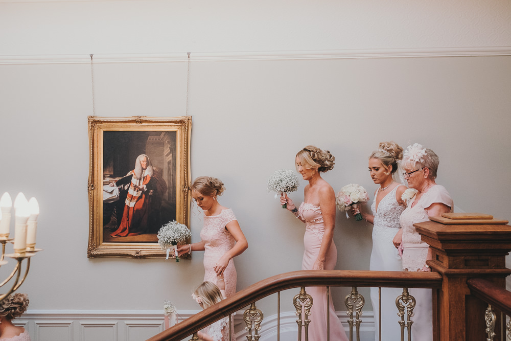 Pink Bridesmaids White Gypsophila Baby's Breath Bouquets Classic Traditional Elegant Round Bride | Ashfield House Wedding Kate McCarthy Photography