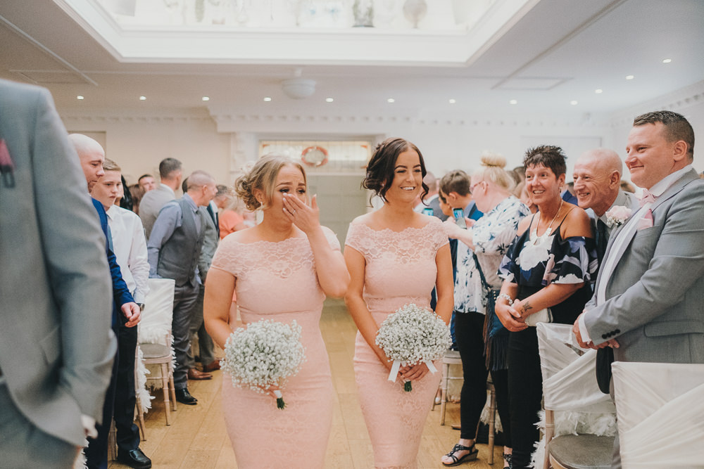 Ceremony Aisle Pink Bridesmaids White Gypsophila Baby's Breath Bouquets Classic Traditional Elegant Round | Ashfield House Wedding Kate McCarthy Photography