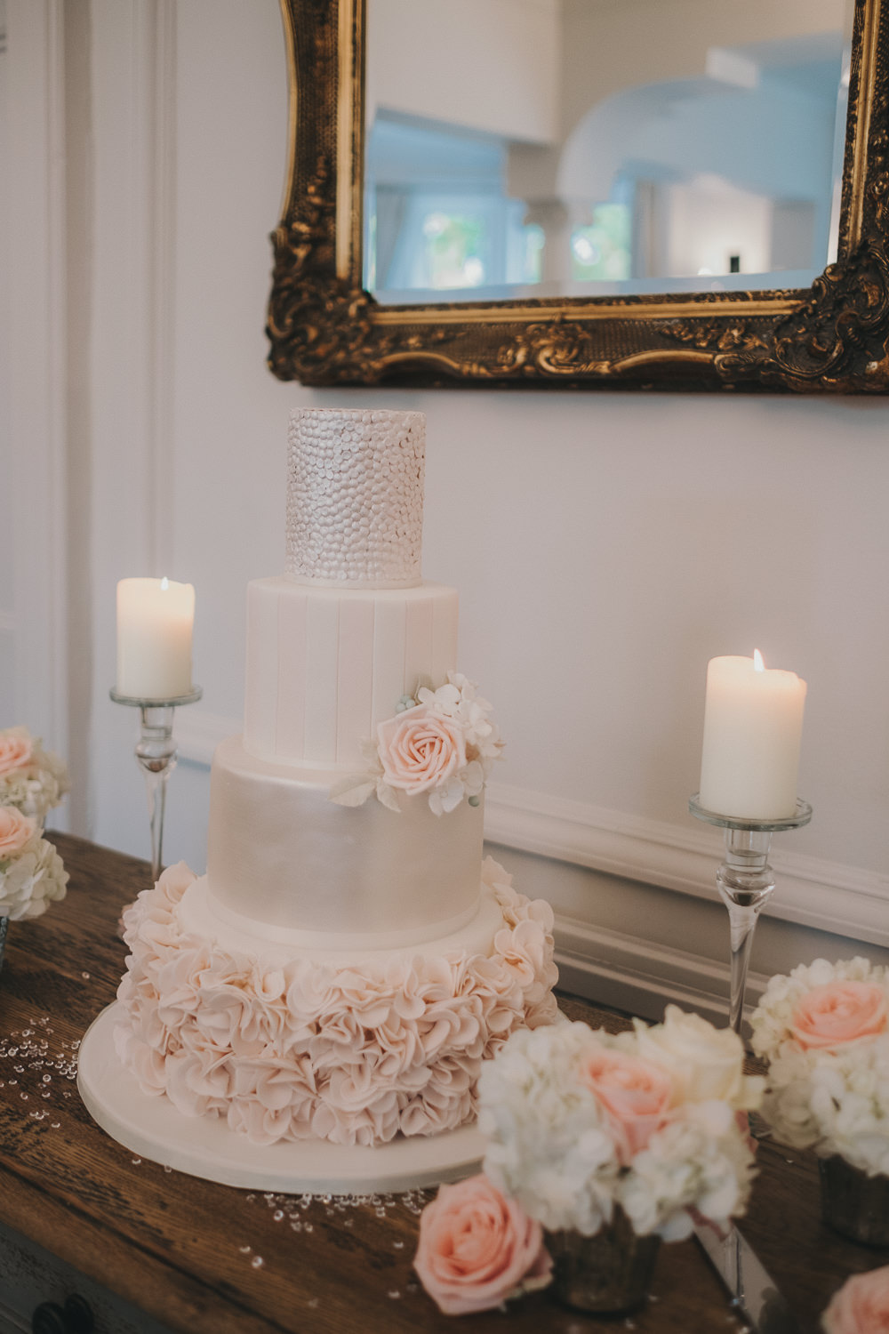Dinner Reception Classic Elegant White Blush Cake Sugar Flowers | Ashfield House Wedding Kate McCarthy Photography