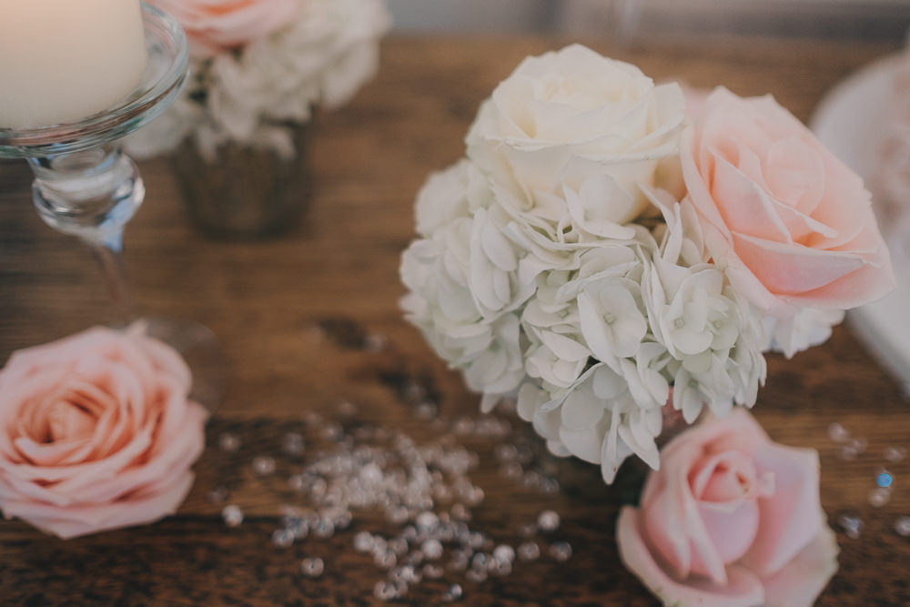 Dinner Reception Classic Elegant White Blush Flowers Roses Crystals | Ashfield House Wedding Kate McCarthy Photography
