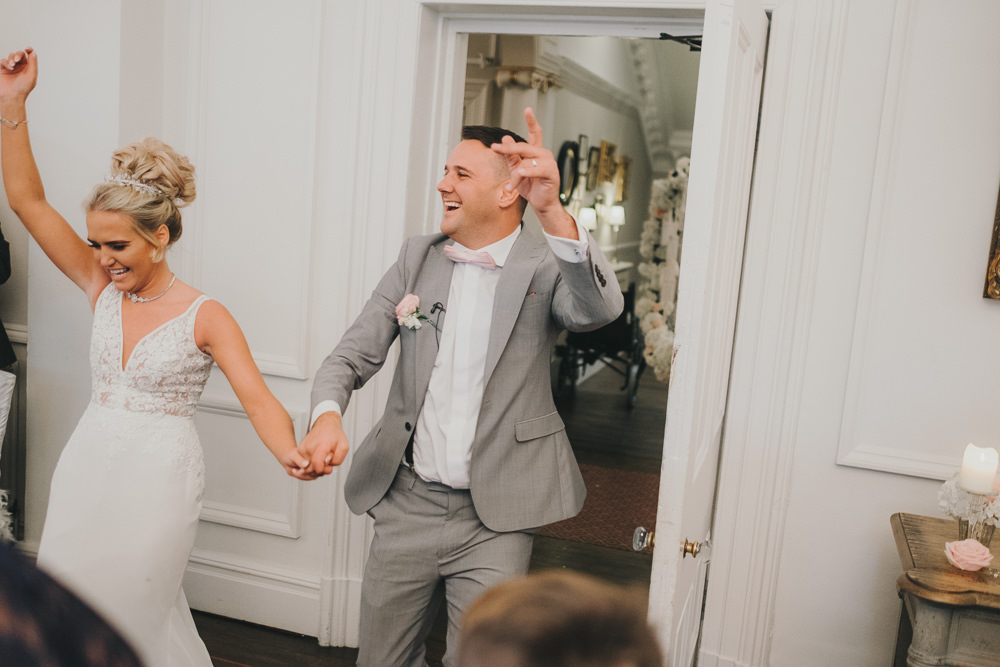 Dinner Reception Bride Groom Entrance Dancing Fun | Ashfield House Wedding Kate McCarthy Photography