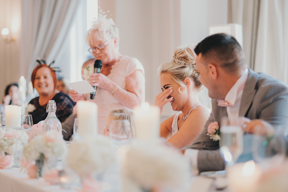 Dinner Reception Classic Elegant Pink White Mother Bride Speech Emotional | Ashfield House Wedding Kate McCarthy Photography