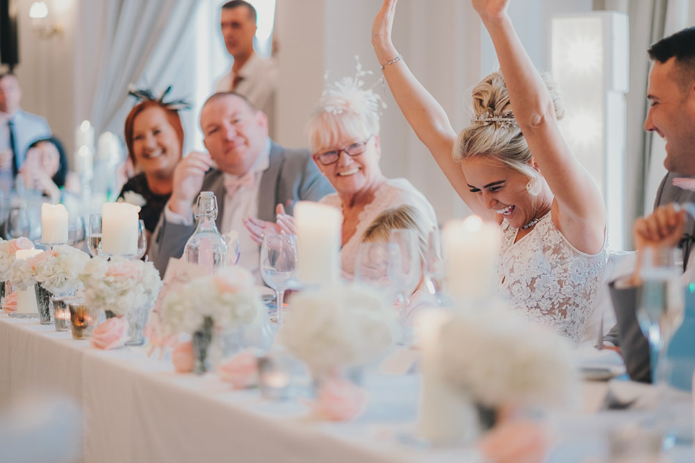 Dinner Reception Classic Elegant Pink White Bride Speeches Fun | Ashfield House Wedding Kate McCarthy Photography