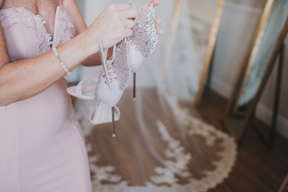 Bride Bridal Shoes Sophia Webster Butterfly Rose Gold Blush Sparkle Pink Bridesmaids | Ashfield House Wedding Kate McCarthy Photography