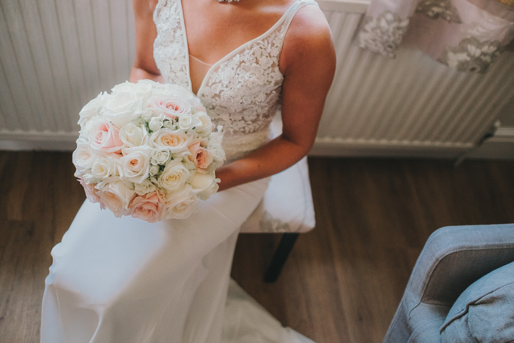 Happy Bride Bridal Prep Morning Hair Updo Classic Traditional Elegant Round White Rose Bouquet | Ashfield House Wedding Kate McCarthy Photography