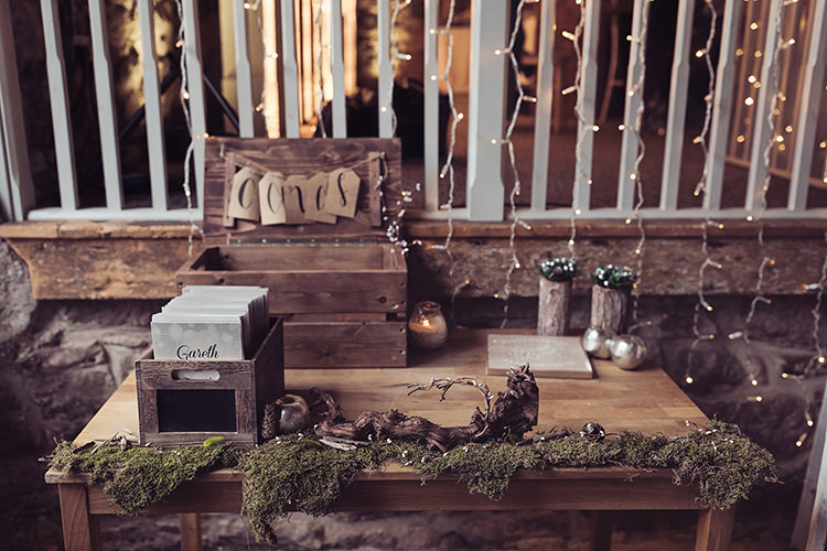Card Gift Table Wooden Crate Moss Rustic Gold Apple Magical Wonderland Askham Hall Wedding Winter Tiree Dawson Photography