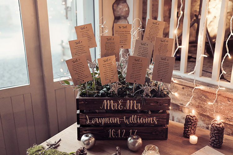 Table Plan Wooden Crate Foliage Moss Gold Apple Candle Magical Wonderland Askham Hall Wedding Winter Tiree Dawson Photography