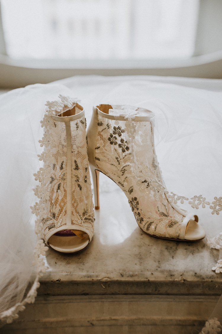 Warehouse Modern Refined Rustic Chic Lace Boot Bridal Shoes | Boho Industrial Winter Wedding Lunalee Photography