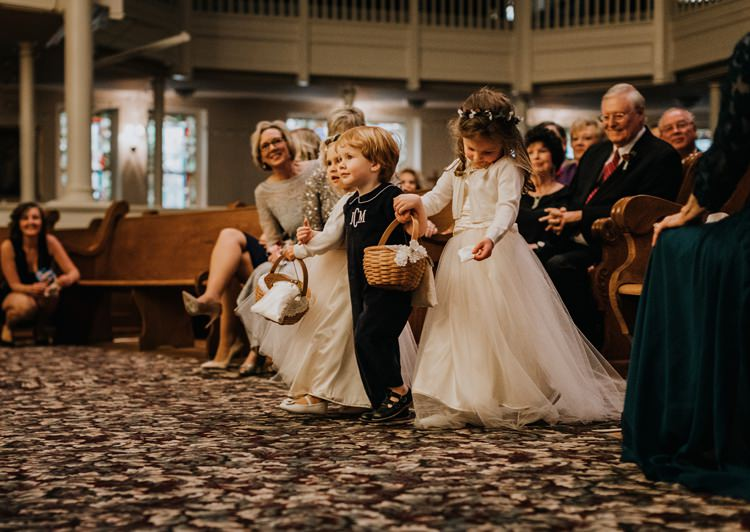 Warehouse Rustic Chic Refined Aisle Ceremony Flower Girl | Boho Industrial Winter Wedding Lunalee Photography