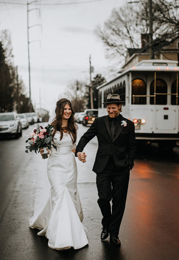 Warehouse Rustic Chic Refined Street Photography Groom Bride | Boho Industrial Winter Wedding Lunalee Photography