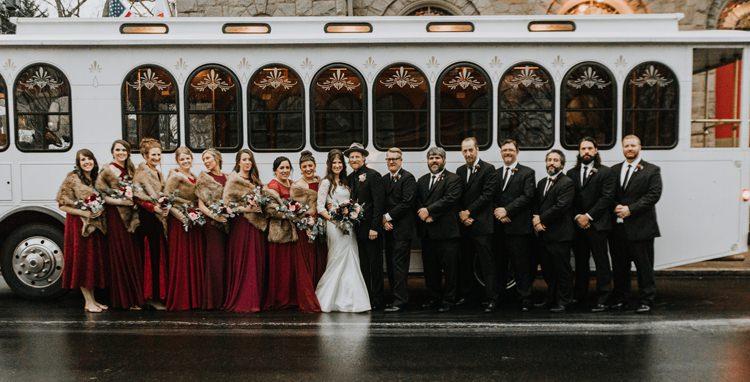 Warehouse Rustic Chic Refined Street Photography Groom Bride Bridesmaids Groomsmen | Boho Industrial Winter Wedding Lunalee Photography