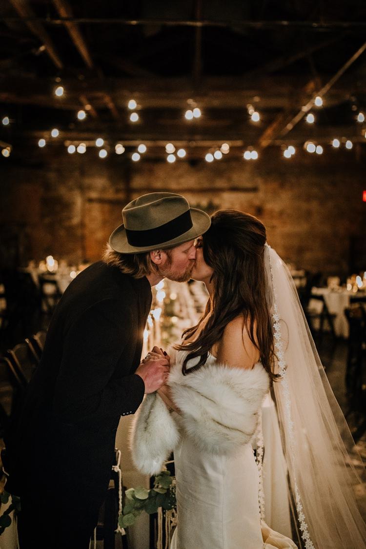 Warehouse Rustic Chic Refined Atlanta King Plow Bride Groom | Boho Industrial Winter Wedding Lunalee Photography