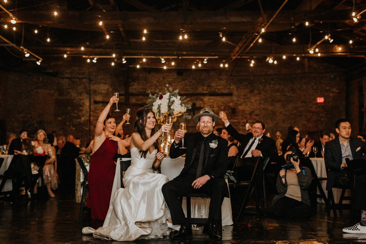 Warehouse Rustic Chic Refined Atlanta King Plow Bride Groom Speeches Toasts | Boho Industrial Winter Wedding Lunalee Photography