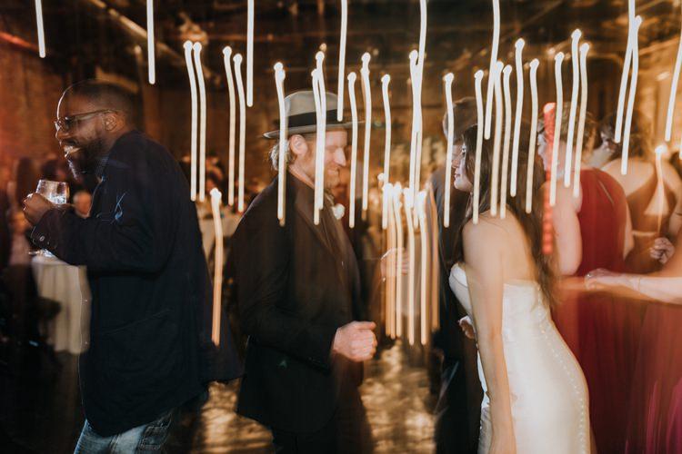 Warehouse Rustic Chic Refined Atlanta King Plow Dance Floor Night | Boho Industrial Winter Wedding Lunalee Photography