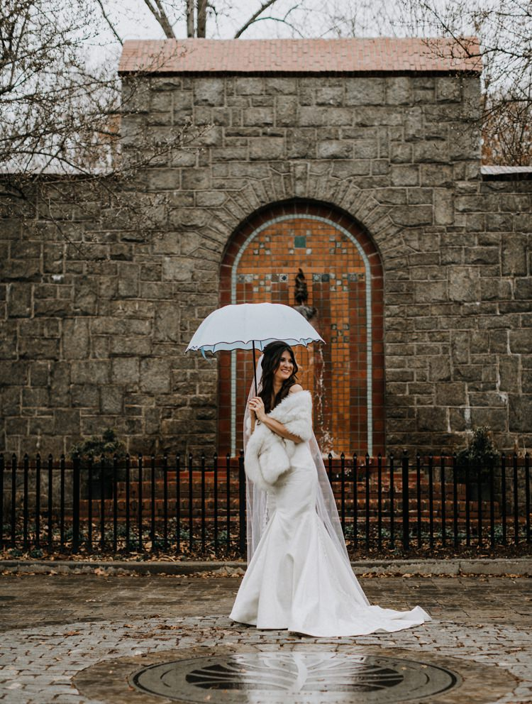 Warehouse Modern Refined Rustic Chic Bride Sweetheart Dress White Fur Shawl Stole Shrug Umbrella | Boho Industrial Winter Wedding Lunalee Photography