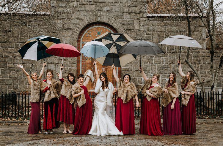 Warehouse Modern Refined Rustic Chic Bride Sweetheart Dress White Fur Shawl Stole Shrug Burgundy Bridesmaids Umbrellas | Boho Industrial Winter Wedding Lunalee Photography