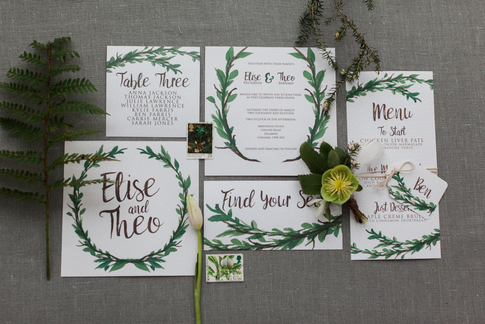 Stationery Invites Invitations Botanical Macrame Glass House Wedding Ideas Jo Bradbury Photography