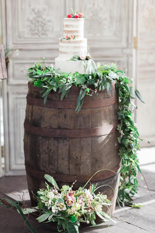 Cake Table Dessert Barrel Greenery Runner Botanical Macrame Glass House Wedding Ideas Jo Bradbury Photography