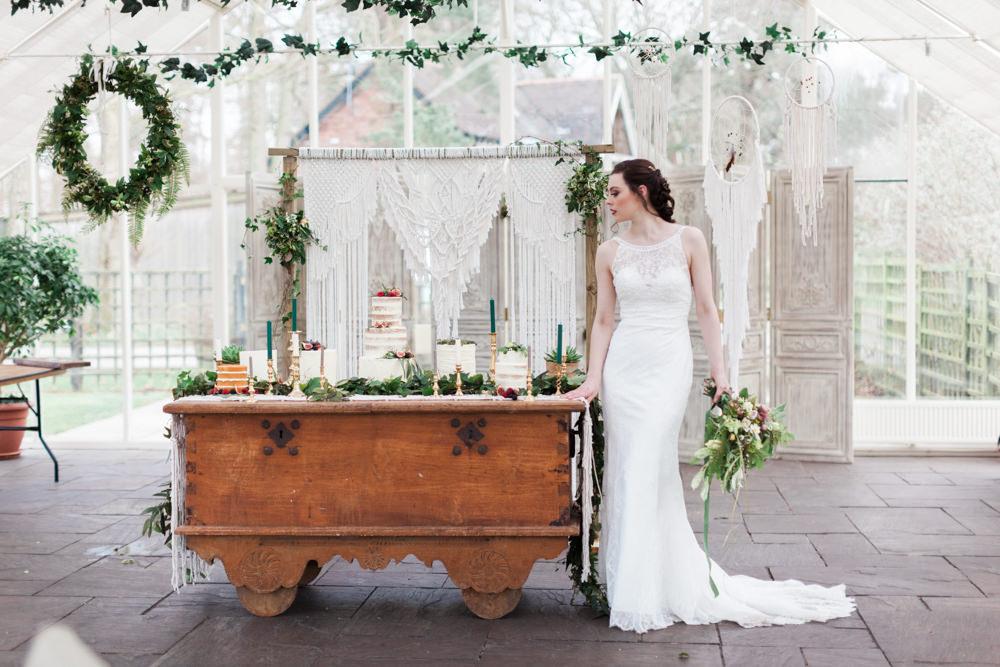 Cake Table Dessert Furniture Dresser Greenery Botanical Macrame Glass House Wedding Ideas Jo Bradbury Photography