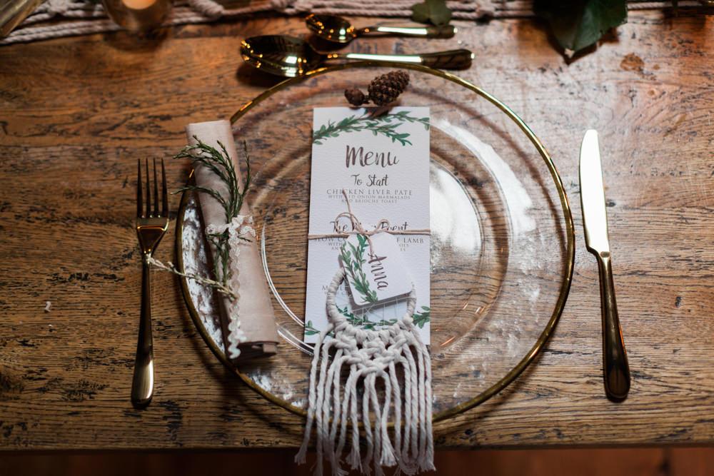 Dream Catchers Stationery Place Setting Botanical Macrame Glass House Wedding Ideas Jo Bradbury Photography