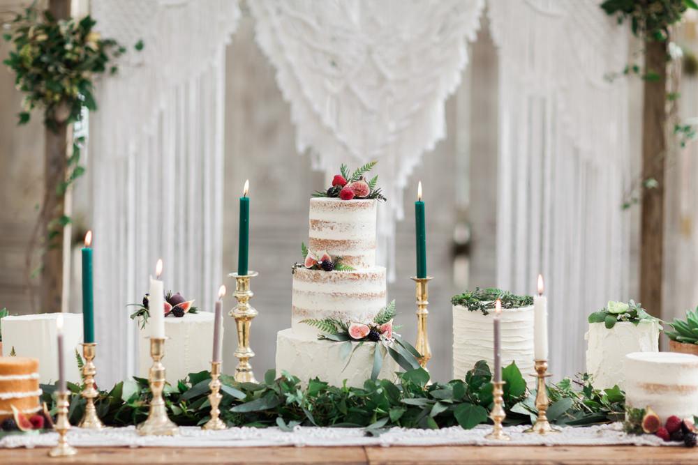 Cake Table Dessert Furniture Dresser Greenery Candles Botanical Macrame Glass House Wedding Ideas Jo Bradbury Photography