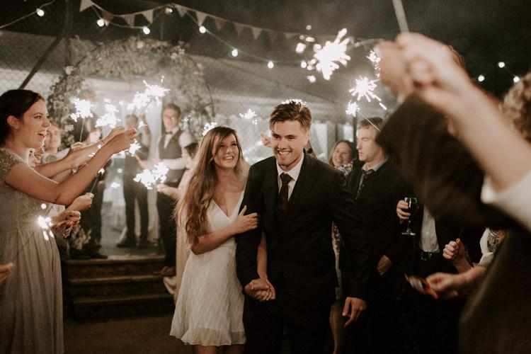 Sparkler Send Off Exit Bride Groom Botanical Summer Garden Wedding Nottingham Grace Elizabeth Photo & Film