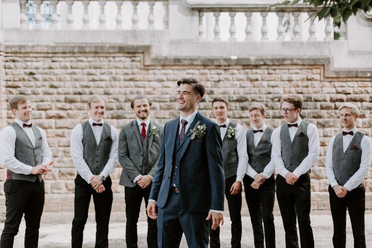 Groom Suit Navy Red Tie Style Outfit Attire Groomsmen Bow Tie Waistcoats Botanical Summer Garden Wedding Nottingham Grace Elizabeth Photo & Film